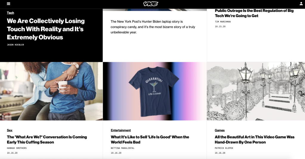 Vice homepage about Collectively losing touch with reality