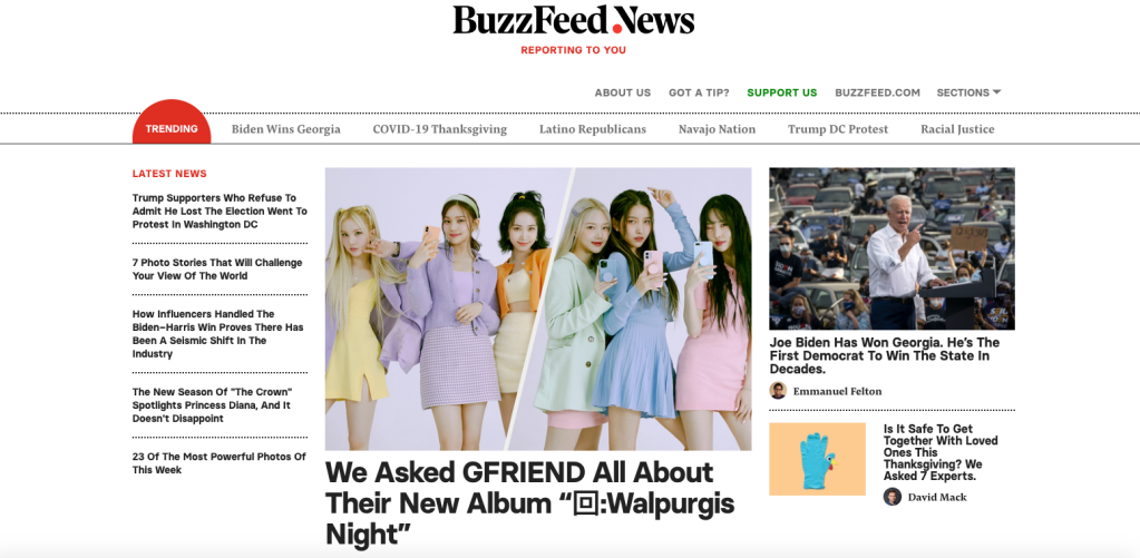 Buzzfeed News homepage