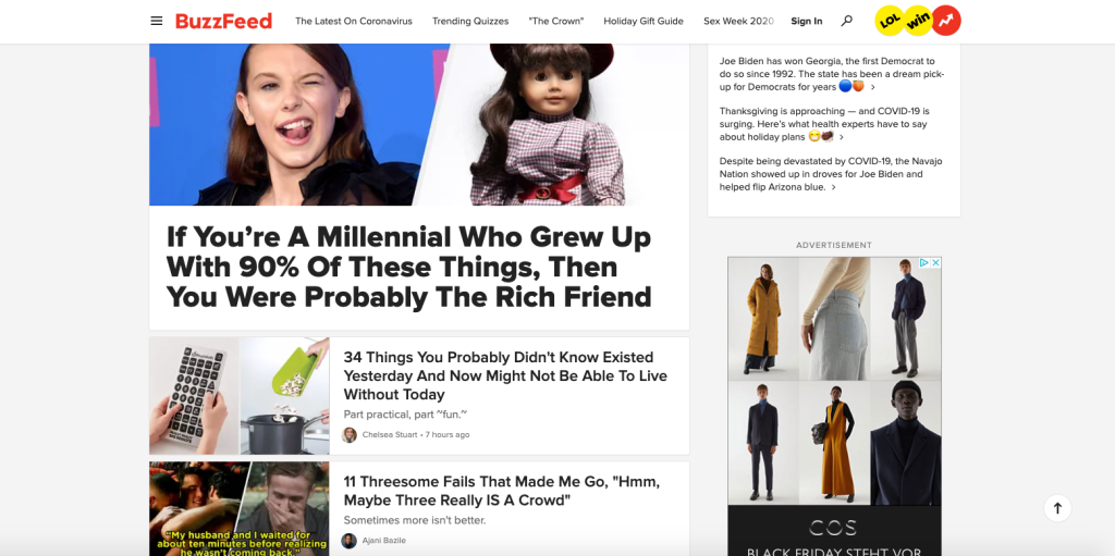 Buzzfeed homepage about millennials
